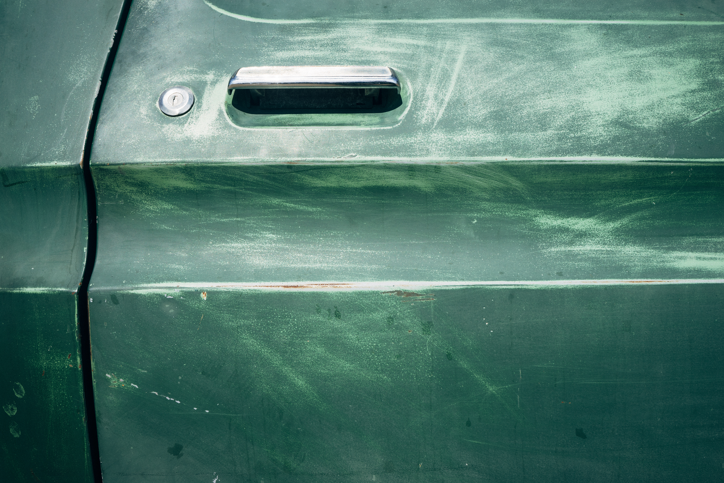 Green car door
